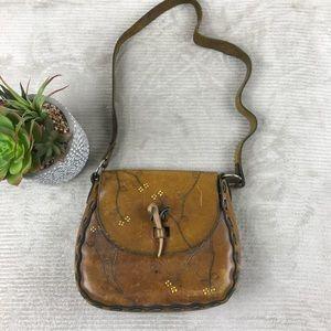 Vintage Hobo Leather Flap Crossbody Brown Purse